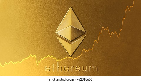 Ethereum - the new virtual money with chart on gold surface