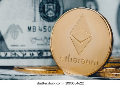 Ethereum On background dollar, concept of crypto currency.