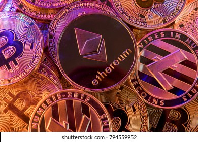 Ethereum on a pile of cryptocurrency