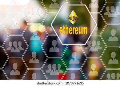 Ethereum on the touch screen  в глобалÑ?ной  network  on blur  background. Cryptocurrency  Ethereum, finance and banking  concept.