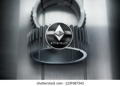 Ethereum process  of creating a blockchain block. Silver coin lies on the gearwheel.