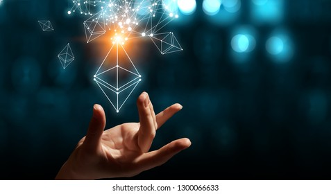 Ethereum symbol and connection lines