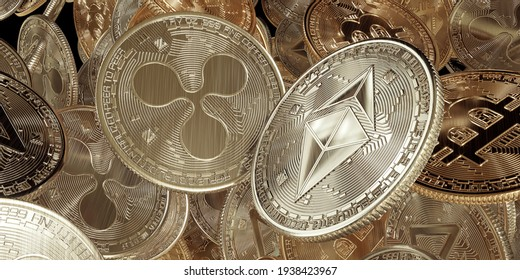 Ethereum vs Ripple, flying golden cryptocurrency coins with Bitcoin, Ethereum, Zcoin,  ripple symbol zoom in background.