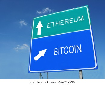 Ethereum-Bitcoin road sign