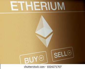Etherium financial concept on a high resolution LCD screen.