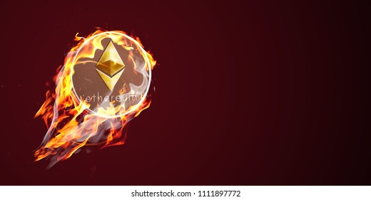 Etherium on fire. Flaming eth coin is going up