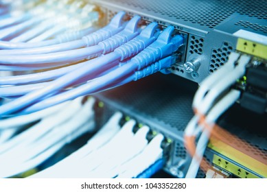 Ethernet cables connected on network switches . Data center concept