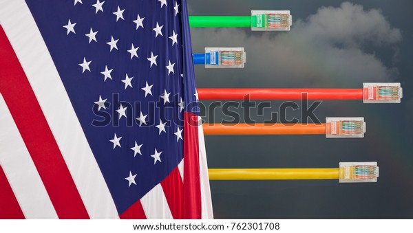 Ethernet cables emerge with different lengths from US Flag to illustrate Net Neutrality debate in Congress