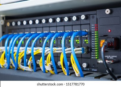Ethernet Cables And  Network With Cable Lan Rj45.