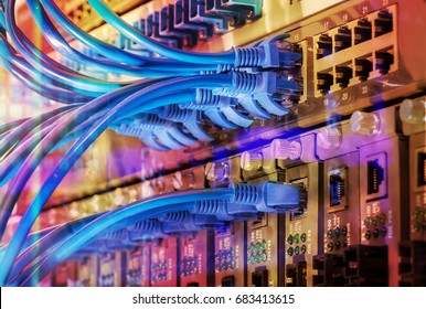 Ethernet cables and Network switching hub LAN System Communication