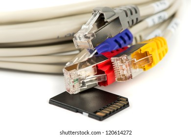 Ethernet Cables and SD Card for Data transmitting and storage