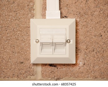 Ethernet socket for two devices on a building wall