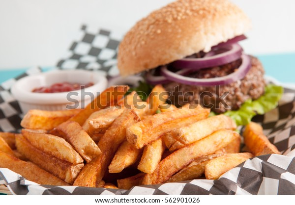 ethicall raised organic beef, hamburger with hand cut fries, farm to table