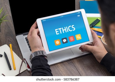 ETHICS CONCEPT ON TABLET PC SCREEN