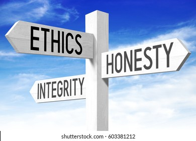 Ethics, honesty, integrity concept - wooden signpost