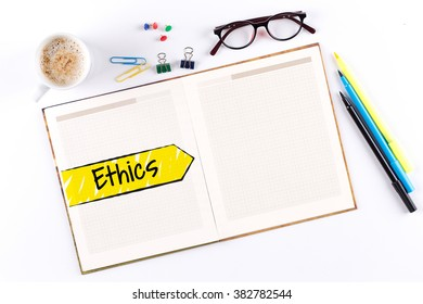 Ethics text on notebook with copy space