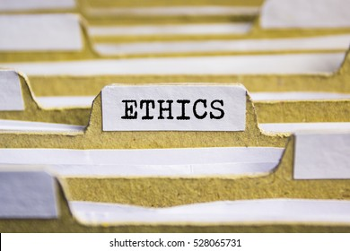 Ethics word on card index paper