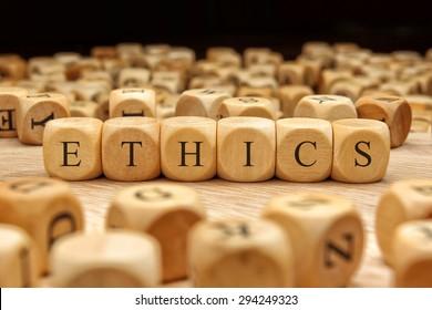 ETHICS word written on wood block
