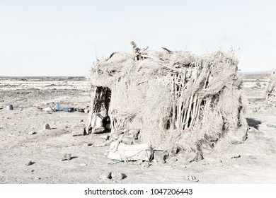 in   ethiopia africa  the poor house of people in the desert of stone