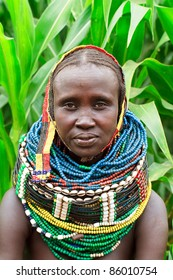 ETHIOPIA - AUG 14: Nyangatom woman posing in the village,the ethnic groups in the The Omo valley Could disappear Because of Gibe III hydroelectric dam. on Aug 14, 2011 in Omo Valley, Ethiopia.