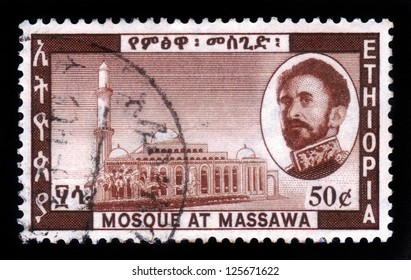 ETHIOPIA - CIRCA 1968 : A stamp printed in Ethiopia shows image of  emperor Haile Selassie and mosque at massawa , Ethiopia , with the inscription in amharic , circa 1968