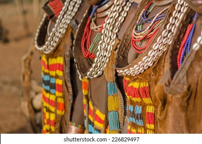 Ethiopia, close up of women's dresses from Hamer tribe