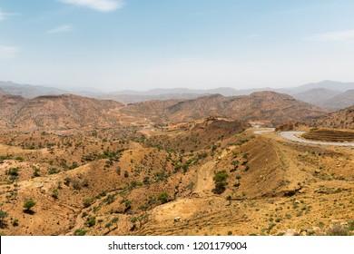 Ethiopia, Danakil depression, desert road in the hills