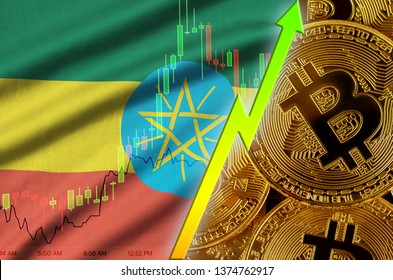 Ethiopia flag and cryptocurrency growing trend with many golden bitcoins