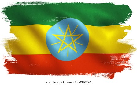 Ethiopia flag with fabric texture. Clipping path included for easy selection. 3D illustration.