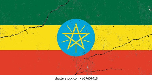 Ethiopia flag grunge background. Background for design in country flag