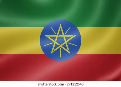 Ethiopia flag on the fabric texture background