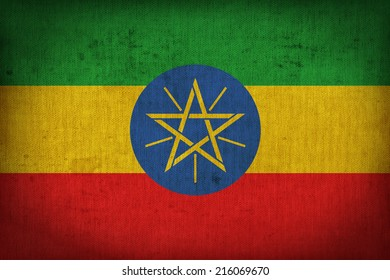 Ethiopia flag pattern on the fabric texture ,retro vintage style