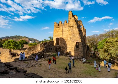 ETHIOPIA, GONDAR, 01-20-2019. The ruin of the palace of Iyasu I. is part of the Gemp, the palace area of the emperors of Gondar