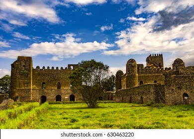Ethiopia, Gondar (Gonder). Royal Enclosure (Fasil Ghebbi) - Palace of Iyasu I and Fasilides castle (Fasil Gemb). Royal Enclosure is on UNESCO World Heritage List