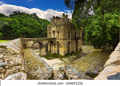 Ethiopia, Gondar (Gonder). Royal Enclosure (Fasil Ghebbi) - Fasilides Bath (Fasilides Swimming Pool). Royal Enclosure is on UNESCO World Heritage List