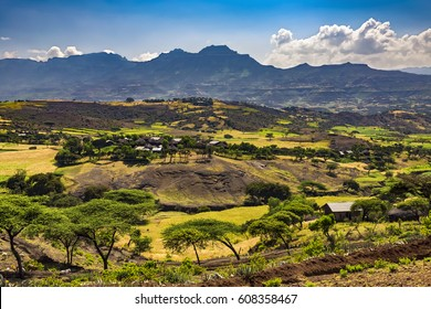 Ethiopia. Lalibela countryside, Lasta Mountains in the background