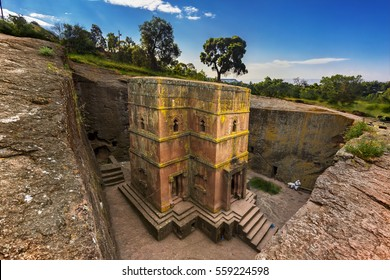 Ethiopia, Lalibela. Monolithic church of Saint George (Bet Giyorgis in Amharic) in the shape of a cross. The churches of Lalibela is on UNESCO World Heritage List