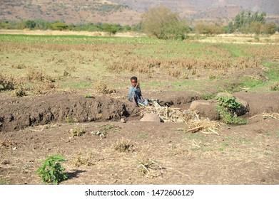 ETHIOPIA - MARCH 2014: The child on the ethiopian street