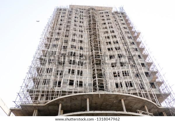 Ethiopia Mekelle Web Wooden Scaffoldings On Stock Photo (Edit Now
