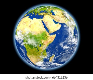 Ethiopia on planet Earth. 3D illustration with detailed planet surface. Elements of this image furnished by NASA.