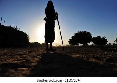 Ethiopia silhouette of native man