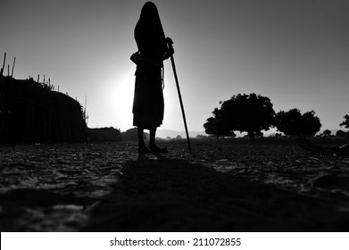 Ethiopia silhouette of native man, black and withe