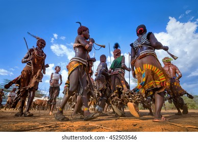 Ethiopia, Turmi village, Omo valley, 16.09.2013, Dancing Hamer tribe in a ceremony of initiation of young men