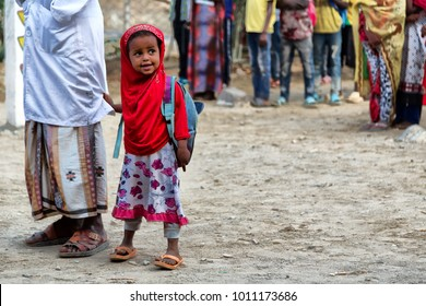 ETHIOPIA,DANAKIL-CIRCA  JANUARY 2018--unidentified   little girl out of islamic school