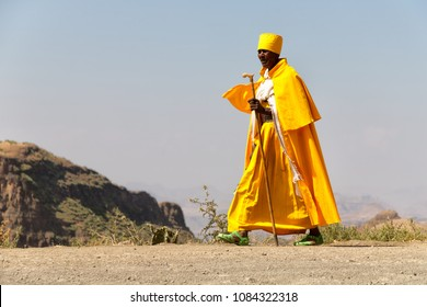 ETHIOPIA,LALIBELA-CIRCA  DECEMBER 2017--unidentified priest walking in the street
