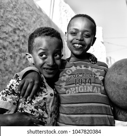 ETHIOPIA,LALIBELA-CIRCA  JANUARY 2018--unidentified children and a ball concept of  friendship