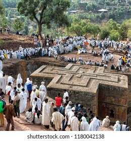ETHIOPIA,LALIBELA-CIRCA  JANUARY 2018--unidentified people in crowd of  the genna celebration and the church