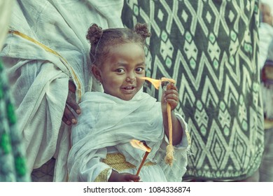ETHIOPIA,LALIBELA-CIRCA  JANUARY 2018--unidentified   young girl in  the genna celebration