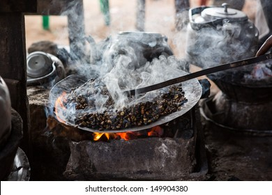 Ethiopian coffee roasted in a traditional way