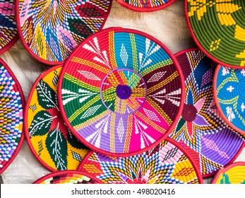 Ethiopian handmade Habesha baskets sold in Axum, Ethiopia.